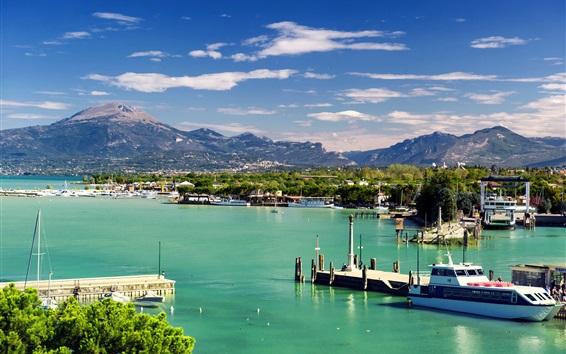 Fond d'écran Italie, Peschiera del Garda, Vénétie, montagnes, jetée, bateaux