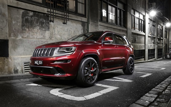 Wallpaper Jeep, Grand Cherokee, red SUV, city, road, night
