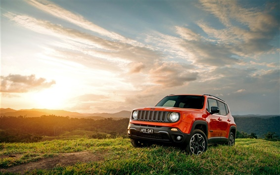 Wallpaper Jeep Renegade, red color, grass, sunset