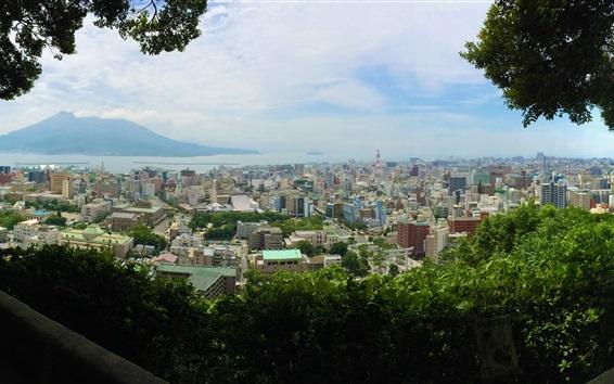 Wallpaper Kagoshima Shiroyama Park top view the city, Japan