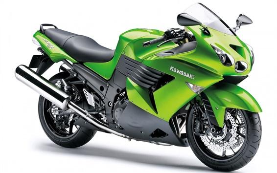壁紙 川崎ZZR1400オートバイ、緑の色