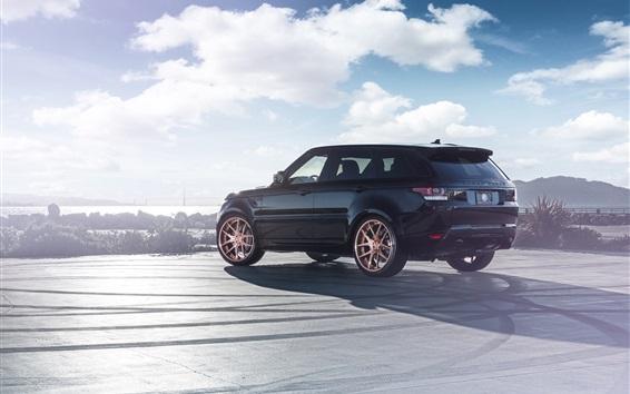 Обои Land Rover Range Rover черный внедорожник вид сзади