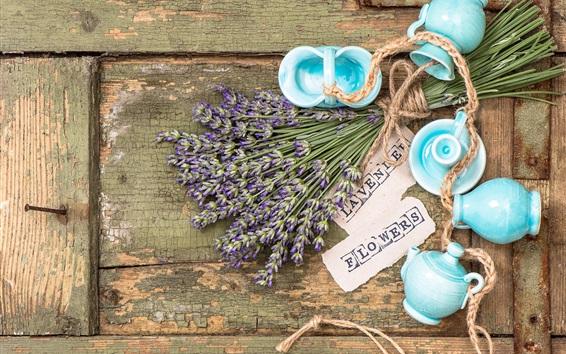 배경 화면 라벤더 꽃, 아직 인생을, 나무 보드