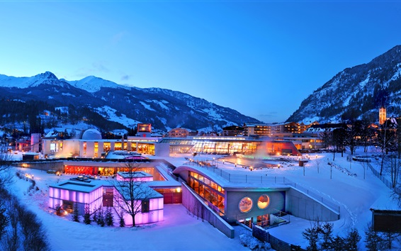 Wallpaper Lindner Alpentherme in winter, dusk, snow, mountain, lights, Switzerland