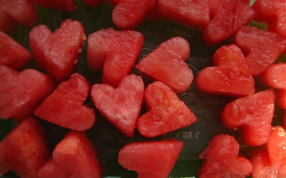 Wallpaper Love hearts shaped watermelons