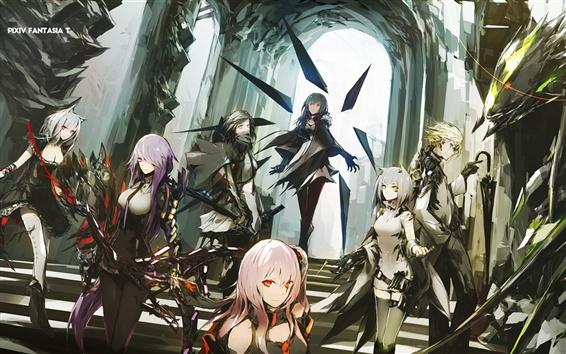Fond d'écran Lowlight Kirilenko, filles d'anime, dragon, château