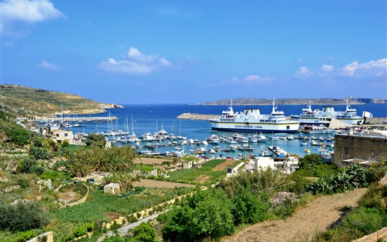 Wallpaper Malta, Gozo, island, boats, dock, yachts, sea
