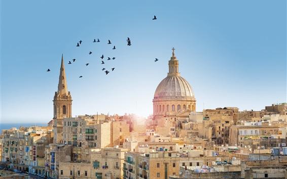 Wallpaper Malta, Valletta City town, buildings, birds, sun rays