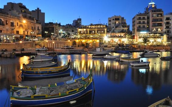 Обои Мальта красивая ночь, дома, фонари, лодки