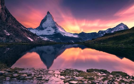 Papéis de Parede Matterhorn, belo pôr do sol paisagem, montanha, lago, reflexão da água