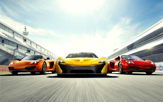 Wallpaper McLaren P1 and MP4-12C supercars, high speed, front view