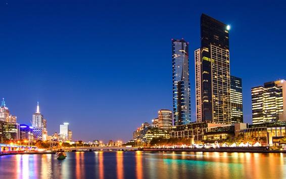 Wallpaper Melbourne, Australia, night city view, skyscrapers, lights, river, bridge