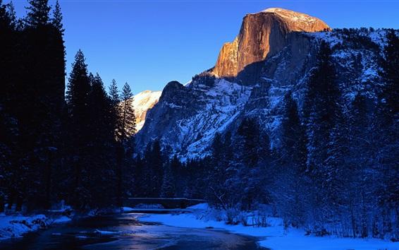 Обои Мерсед реки, Национальный парк Йосемити, Калифорния, США, красивая зима