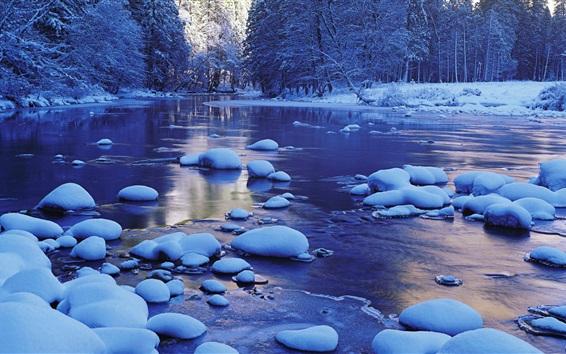 Fondos de pantalla Merced río, nieve, invierno, el Parque Nacional de Yosemite, California, EE.UU.
