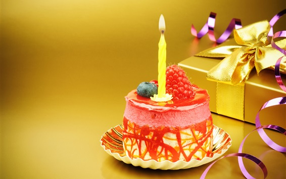 Wallpaper Mini Birthday cake, candle, strawberry, gift