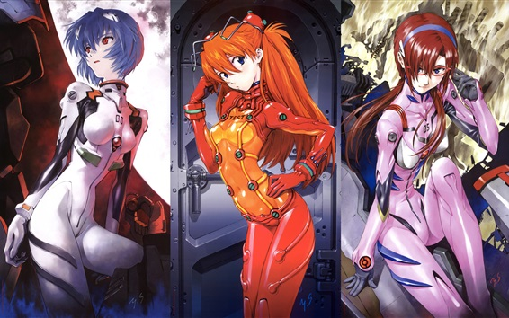 Wallpaper Neon Genesis Evangelion, three beautiful anime girls