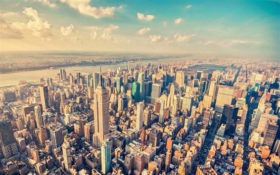 Papéis de Parede Nova York, EUA, arranha-céus, rio, nuvens