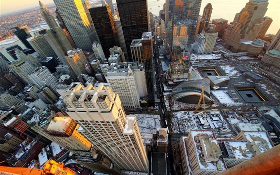 Papéis de Parede Nova Iorque, EUA, vista de cima da cidade, por do sol, arranha-céus, neve, inverno