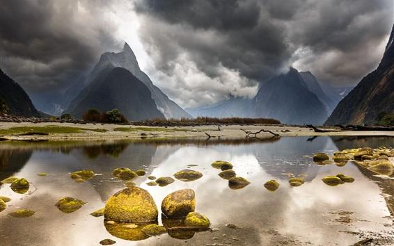 Обои Новая Зеландия Красивый пейзаж, горы, облака, озеро, камни