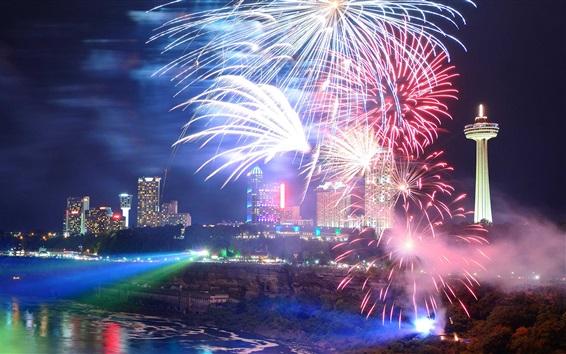 Papéis de Parede Niagara Falls, Canadá, cachoeiras, cidade noite, luzes, fogos de artifício