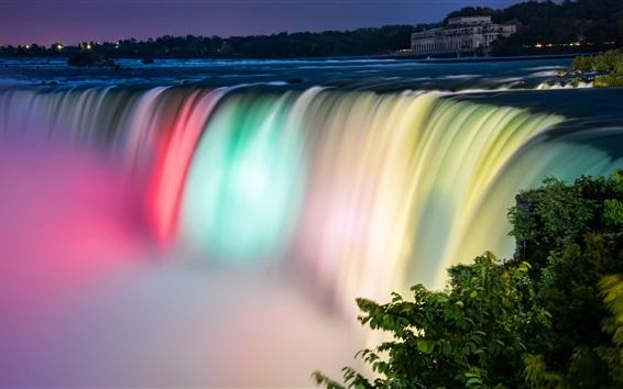 Обои Niagara Falls красивых цветов, ночь, Канада