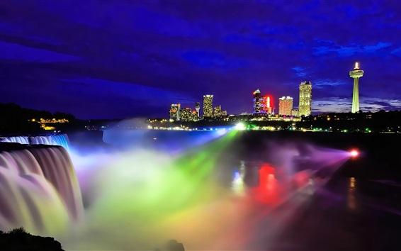 Papéis de Parede Niagara Falls visão noturna, Canadá, luz colorida, cidade