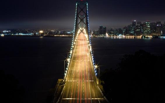 Fondos de pantalla Noche, puentes, edificios, luces de la ciudad
