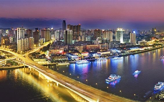 Fond d'écran Vue de nuit de Guangzhou, en Chine, bâtiments, pont, éclairage