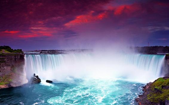 Обои Ночной вид на Ниагарский водопад, красивые водопады, закат, голубая вода, Канада