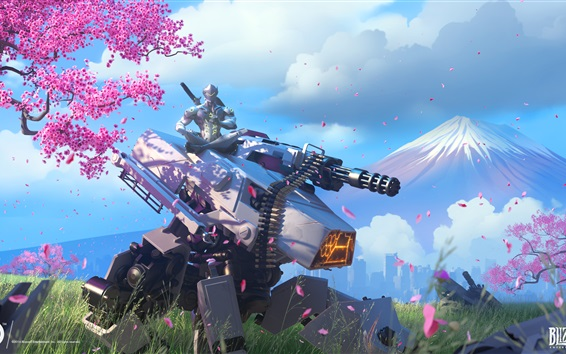Wallpaper Overwatch, Genji, cherry flowers
