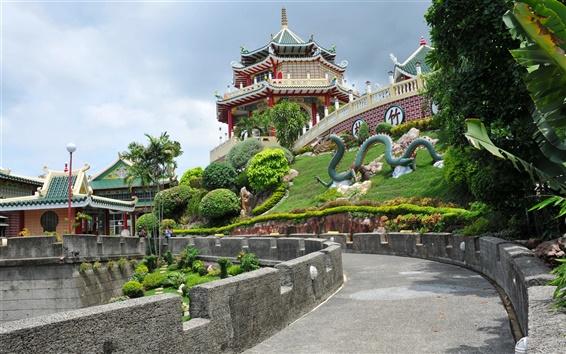 Papéis de Parede Filipinas, Cebu, Taoist Temple, estrada, árvores