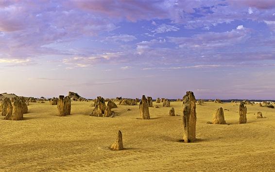 Fond d'écran Pinnacles calcaire, Australie-Occidentale, désert, nuages