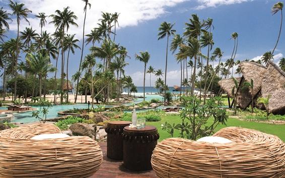 Wallpaper Resort, sea, palm trees, pool, Laucala Island, Fiji
