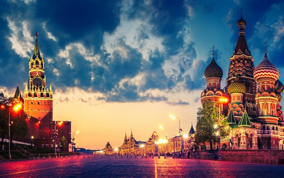 Wallpaper Russia, Moscow city, Red square, Cathedral, Kremlin, night, lights