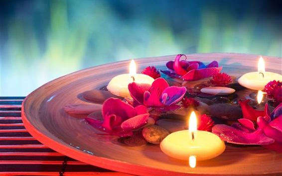 Papéis de Parede temático SPA, velas, flores, pedras, água