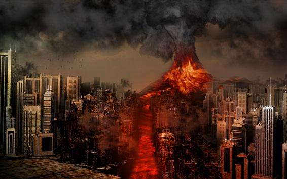 Fond d'écran Sakurajima volcan, le Japon, la catastrophe, la lave, la ville détruit, le design créatif
