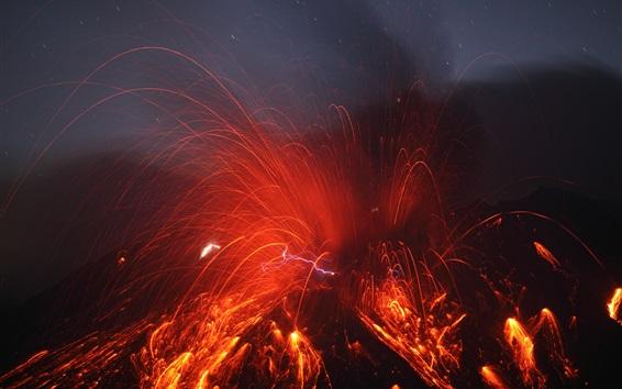 Обои Сакураджима извержение вулкана, магма всплеск, Япония