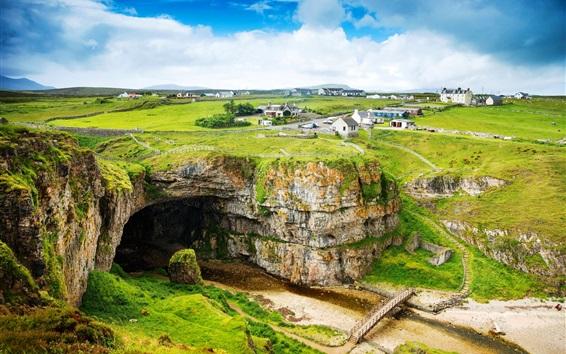 Fond d'écran Ecosse, Royaume-Uni, montagnes, maisons, route, rivière à sec, pont