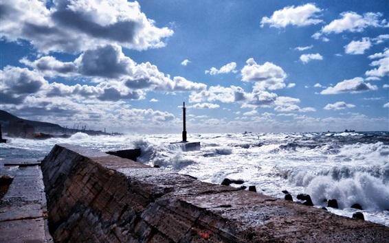 壁紙 海、桟橋、波、雲、サハリン島