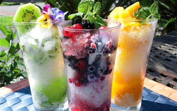 Wallpaper Shaved ice, summer drinks, fruits, glass cups