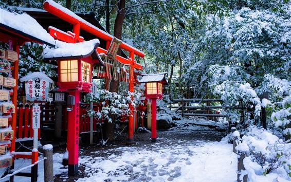 Papéis de Parede Santuário, Torii, Kyoto, Japão, inverno, neve, árvores