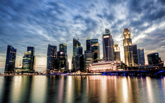 Wallpaper Singapore, city view, sunset, skyscrapers, clouds, river, water reflection