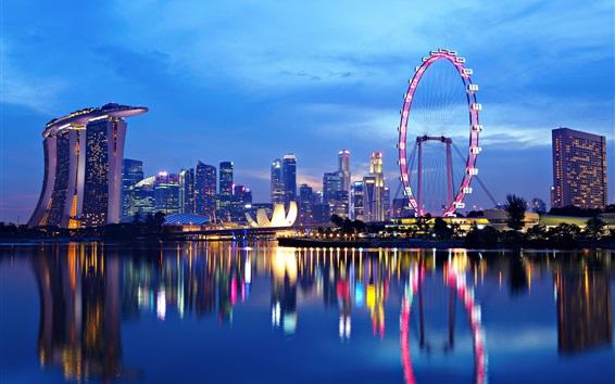 Fond d'écran Singapour paysage urbain, rivière, nuits, lumières, réflexion de l'eau