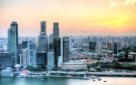 Fondos de pantalla Singapur, rascacielos, río, los caminos, la puesta del sol