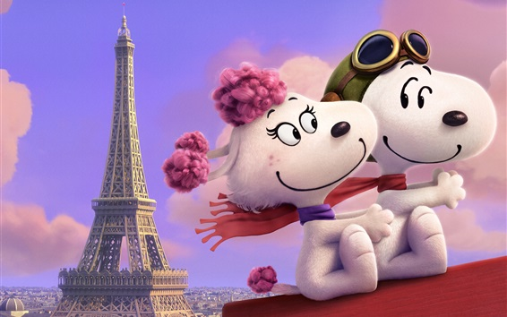 Wallpaper Snoopy and Fifi in the Paris