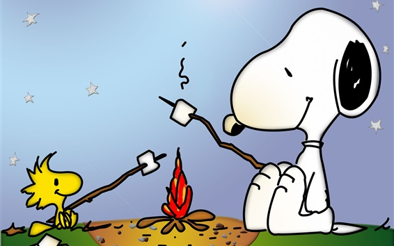 Wallpaper Snoopy and little bird, campfire