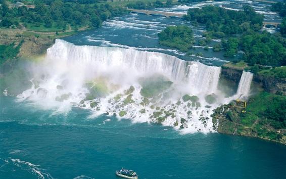 Обои Захватывающие водопады, Ниагарский водопад, Канада, лодка