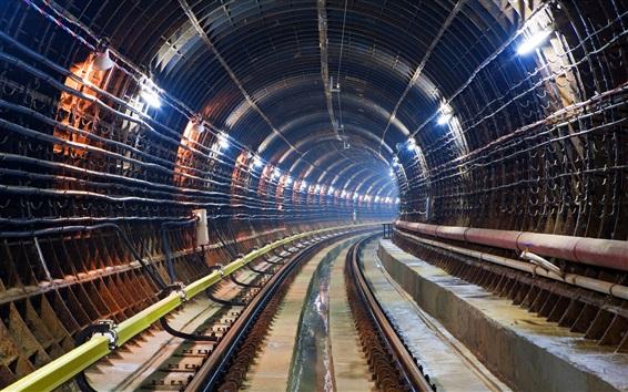 Papéis de Parede Túnel do metro, trilhos, iluminação
