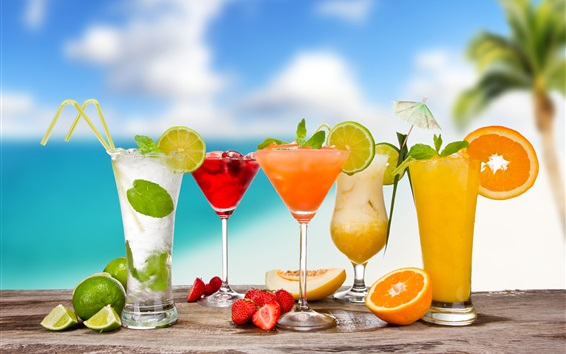 Wallpaper Summer drinks, cocktails, mojito, glass cups, strawberry, orange, melon