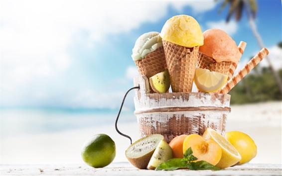 Обои Летняя еда, мороженое, апельсин, киви, пляж